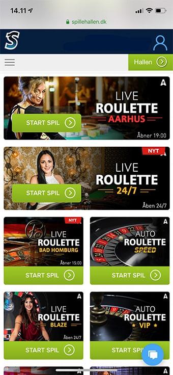 Spillehallen.dk byder på et dusin live casino-spil