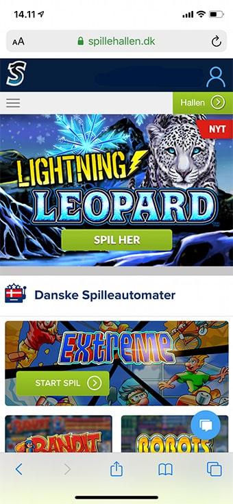 Spil på mobilen foregår i en browser hos Spillehallen.dk