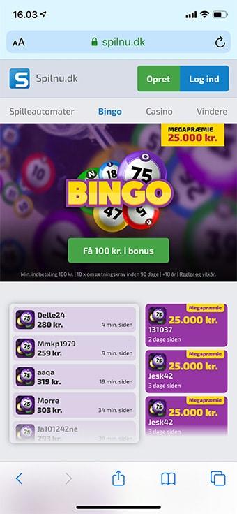 Spil bingo på mobilen hos Spilnu Bingo
