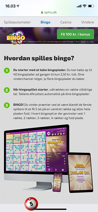 Spilnu Bingo kan tilgås på iPhone og Android