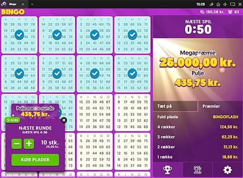 Du kan købe op til 40 bingoplader ad gangen til 2.50 kr. pr. række