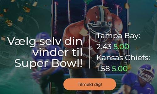 Få odds 5.00 på begge hold i Super Bowl