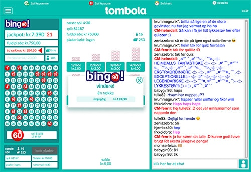 Her ses Tombolas bingo chat til højre i skærmen