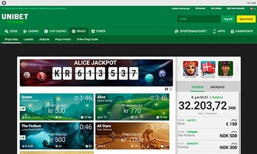 Unibet Bingo tilbyder en fin og velfungerende hjemmeside
