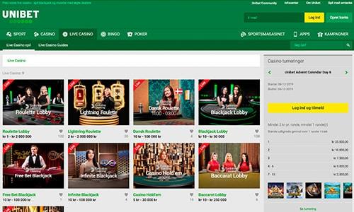 Live casino-delen har en separat sektion på hjemmesiden