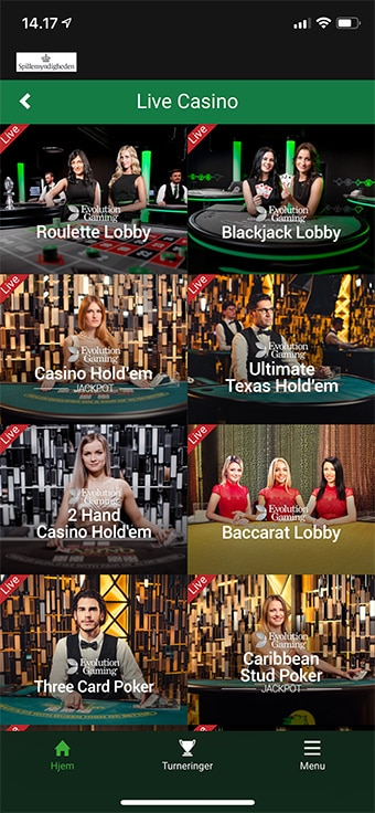 Spil live casino hos den populære spiludbyder